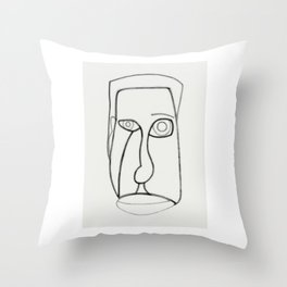 Facial Features grey Throw Pillow