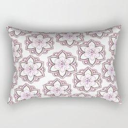 Original pencil hand drawn pink white floral pattern Rectangular Pillow