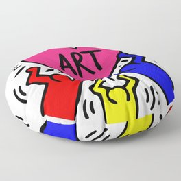 "Keith Haring inspired ""I Love Art"" Primary Colors edition Floor Pillow"