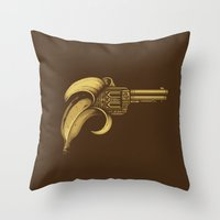 gun Throw Pillows featuring Banana Gun by Enkel Dika