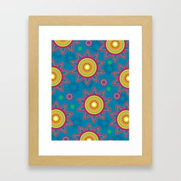 Moroccan Flower Blue Framed Art Print