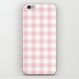 Large Valentine Soft Blush Pink and White Buffalo Check Plaid iPhone Skin