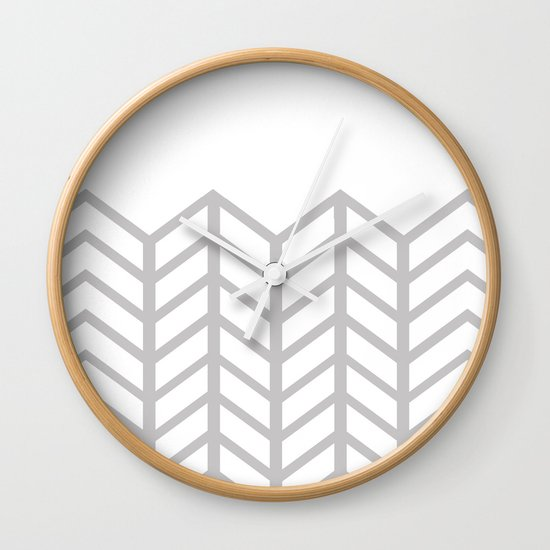 GRAY & WHITE LACE CHEVRON Wall Clock