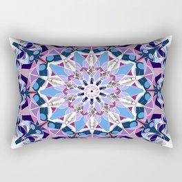 blue grey white pink purple mandala Rectangular Pillow