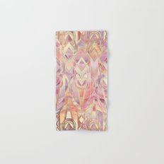 Glowing Coral and Amethyst Art Deco Pattern Hand & Bath Towel
