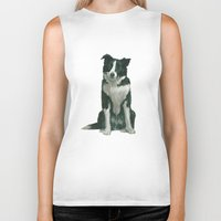 border collie Biker Tanks featuring border collie by phil art guy