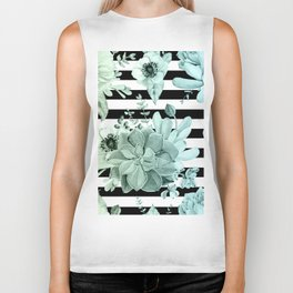 Simply Succulent Garden Striped in Turquoise Green Blue Gradient Biker Tank