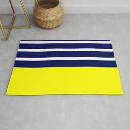 Summer Patio Perfect, Yellow, White & Navy Rug