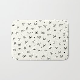 Cute pattern with hand- drawn bows Bath Mat