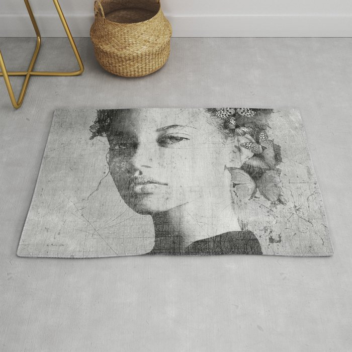 PORTRAIT (Woman with butterflies) Rug