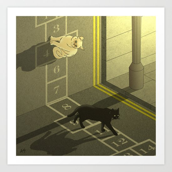 Cat Hopscotch  Art Print
