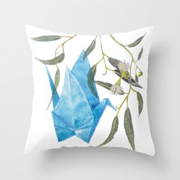 Blue origami crane and eucalyptus branches (pencil & watercolor) Throw Pillow