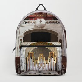 Interior of Catholic cathedral in Madrid Backpack