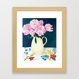 Peonies at Spring's End Framed Art Print