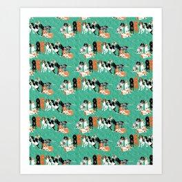 Coonhound row Art Print