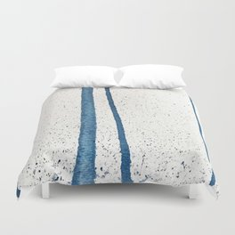 Parallel Universe [vertical]: a pretty, minimal, abstract piece in lines of vibrant blue and white Duvet Cover