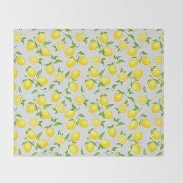 You're the Zest - Lemons on White Throw Blanket