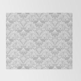 Stegosaurus Lace - White / Silver Throw Blanket