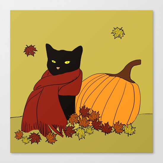 Cascade The Black Cat Welcomes Fall Canvas Print