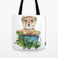cheetah Tote Bags featuring cheetah by Anna Shell
