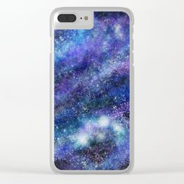 Blue Space Galaxy Clear iPhone Case