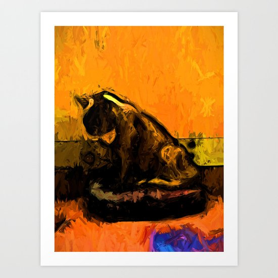 Cat and a Gold Wall Art Print
