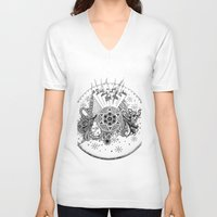 zentangle V-neck T-shirts featuring Zentangle by Alex Vladoiu