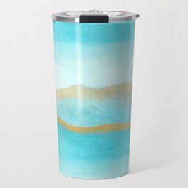 Gold and blue sea Travel Mug