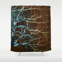 batik Shower Curtains featuring Batik Tree by Deb MacNeil
