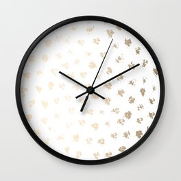 Gold Polka Splotch Dots on White Wall Clock