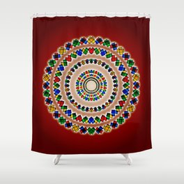 Concentrics on Crimson, 2080m1 Shower Curtain