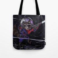 rocket raccoon Tote Bags featuring Rocket Raccoon  by kuri