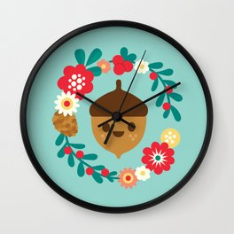 Acorn and Flowers Wall Clock