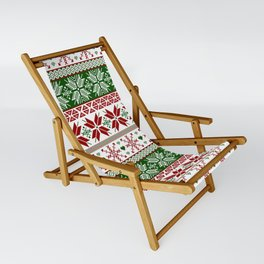 Green & Red Winter Fair Isle Sling Chair