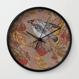 Waxwing Winter Feast Wall Clock