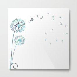 Dandelion Paua White Metal Print