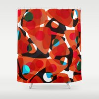 70s Shower Curtains featuring orange 70s by Matthias Hennig