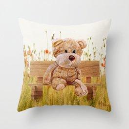 Cuddly In The Garden Throw Pillow
