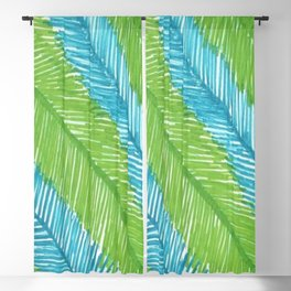 Blue and Green Palm Leaves Blackout Curtain