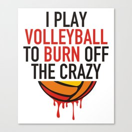 I Play Vollyball to burn off the crazy Canvas Print