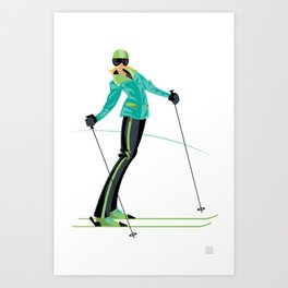 Ski Girl Lean Back Art Print