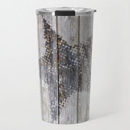 Grunge Star on old weathered grey wood Travel Mug