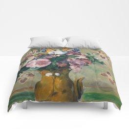 """Paul Cezanne """"Vase of Flowers"""" Comforters"""