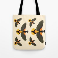 baltimore Tote Bags featuring Baltimore Oriole  by Alysha Dawn