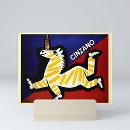 Vintage Cinzano Italian Yellow Zebra Advertisement Wall Art Mini Art Print