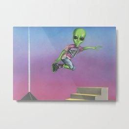 Rollerblading Alien Metal Print