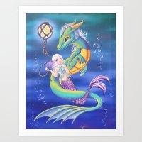 Mermaid and Sea Dragon Art Print