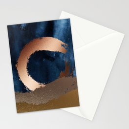 Navy Blue, Gold And Copper Abstract Art Stationery Cards