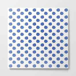 Blue flowers on white Metal Print