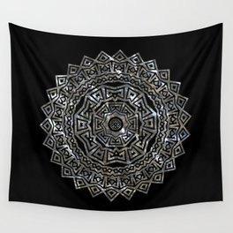 Aztec Mexican Silver Mandala Wall Tapestry